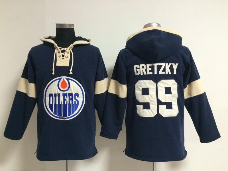NHL Edmonton Oilers 99 Wayne Gretzky Blue Pullover Hooded Sweatshirt