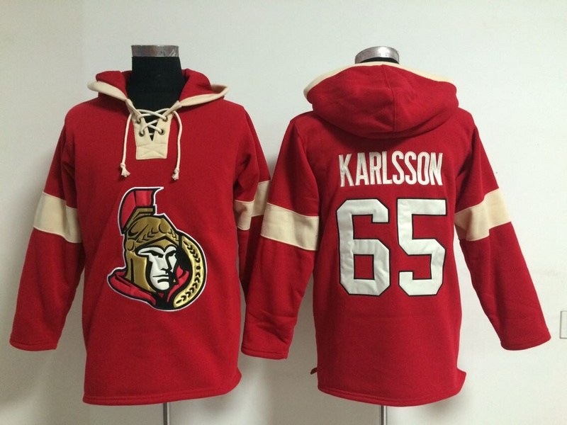 NHL Ottawa Senators 65 Erik Karlsson Red Pullover Hooded Sweatshirt