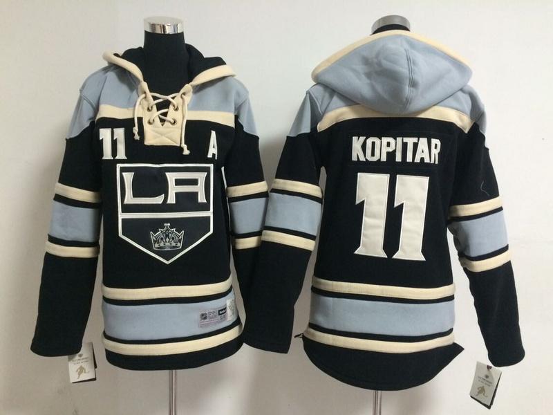 Youth NHL Los Angeles Kings 11 Anze Kopitar Black Pullover Hooded Sweatshirt