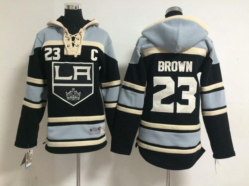 Youth NHL Los Angeles Kings 23 Dustin Brown Black Pullover Hooded Sweatshirt