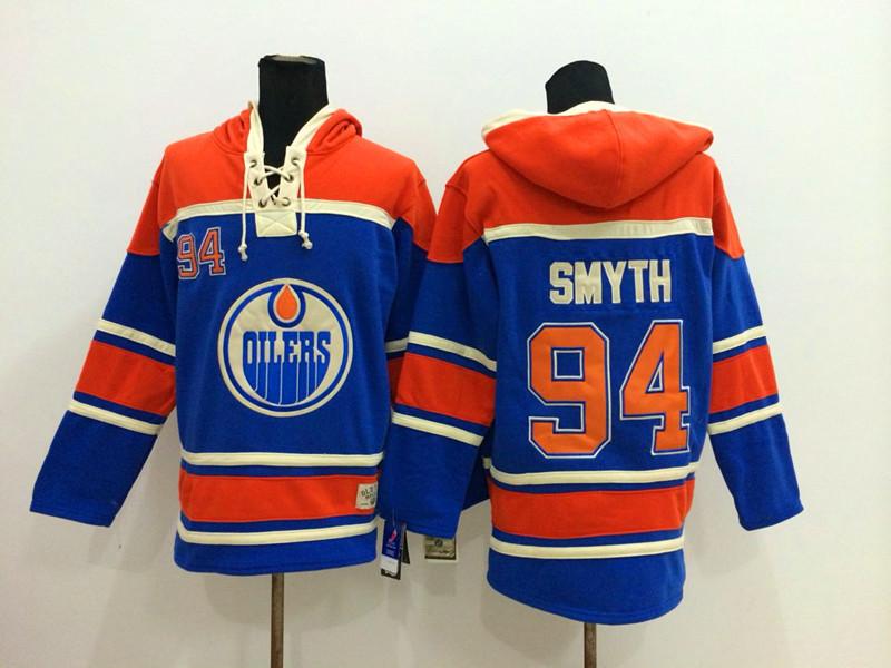 NHL Edmonton Oilers 94 Smyth Blue 2014 Pullover Hooded Sweatshirt