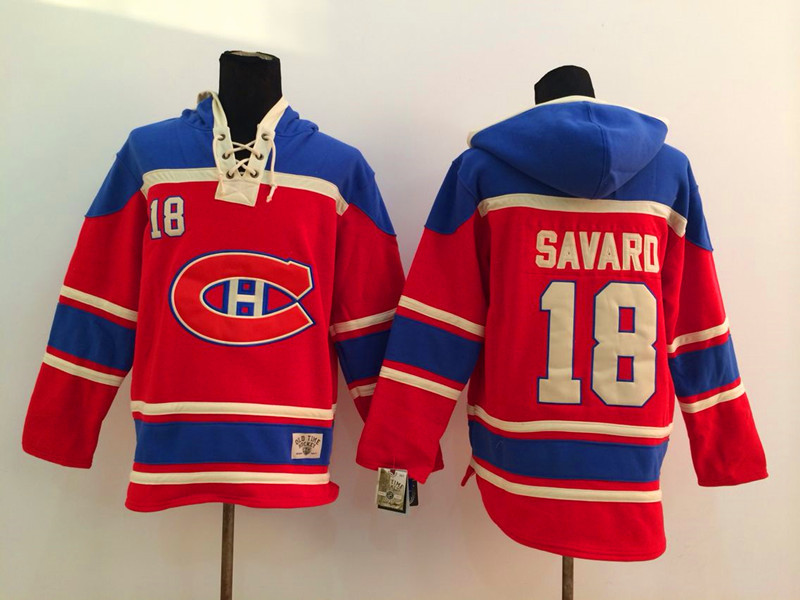 NHL Montreal Canadiens 18 Savard red 2014 Pullover Hooded Sweatshirt