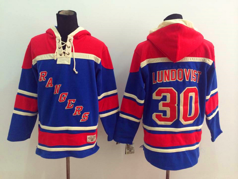 NHL New York Rangers 30 Lundqvist Blue 2014 Pullover Hooded Sweatshirt