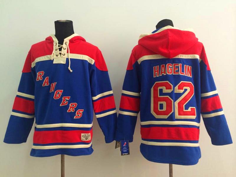 NHL New York Rangers 62 Hagelin Blue 2014 Pullover Hooded Sweatshirt