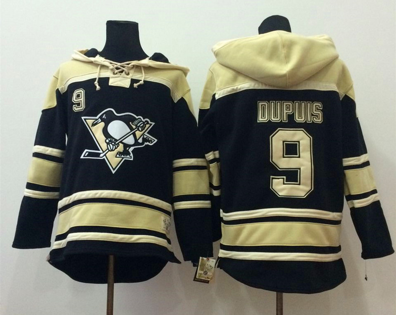 NHL Pittsburgh Penguins 9 Dupuis Black 2014 Pullover Hooded Sweatshirt