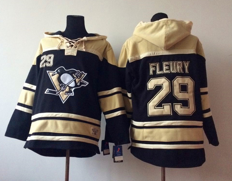NHL Pittsburgh Penguins 29 Fleury Black 2014 Pullover Hooded Sweatshirt