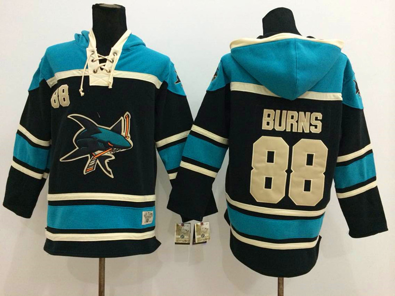 NHL San Jose Sharks 88 Burns Black 2014 Pullover Hooded Sweatshirt