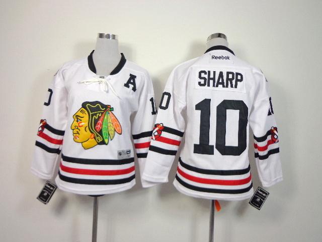 Youth NHL Chicago Blackhawks 10 Sharp White 2014 Winter Classic Jerseys