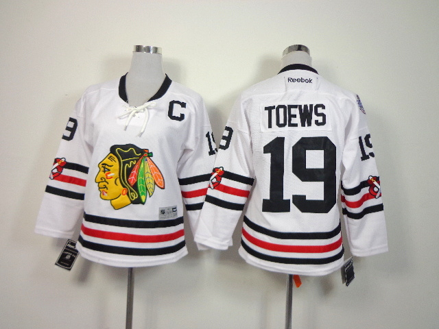 Youth NHL Chicago Blackhawks 19 Toews White 2014 Winter Classic Jerseys