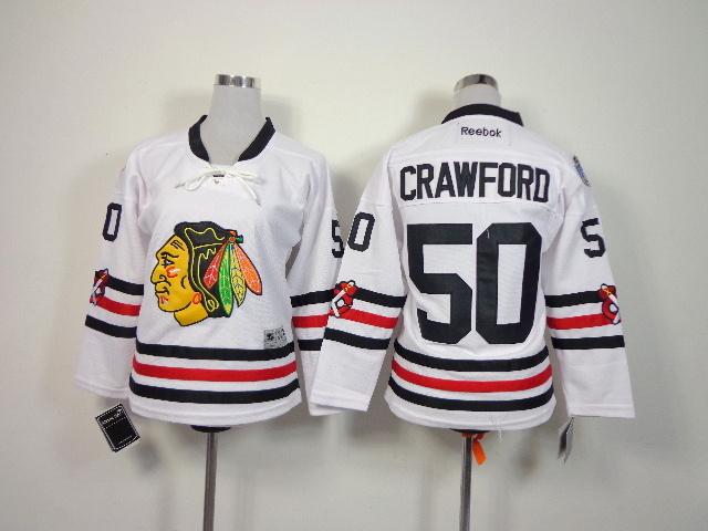 Youth NHL Chicago Blackhawks 50 Crawford White 2014 Winter Classic Jerseys