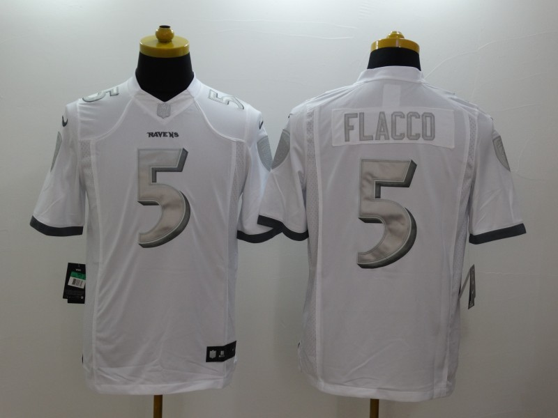 Baltimore Ravens 5 Flacco Platinum White 2014 New Nike Limited Jerseys