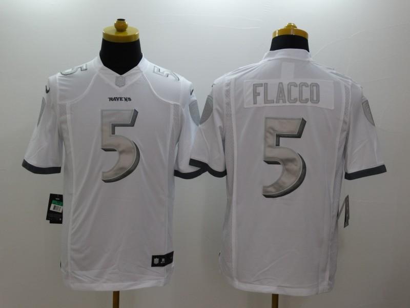 Baltimore Ravens 5 Flacco Platinum White 2014 New Nike Limited Jerseys