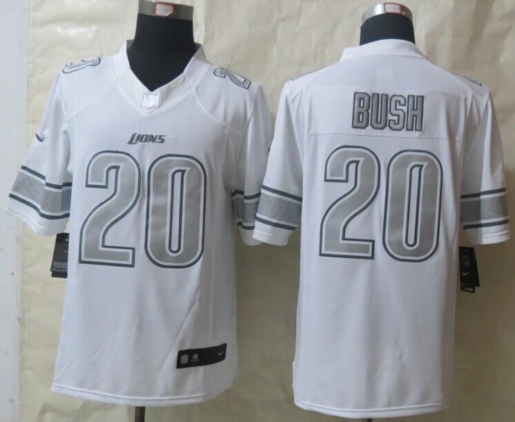 Detroit Lions 20 B.Sanders Platinum White 2014 New Nike Limited Jerseys
