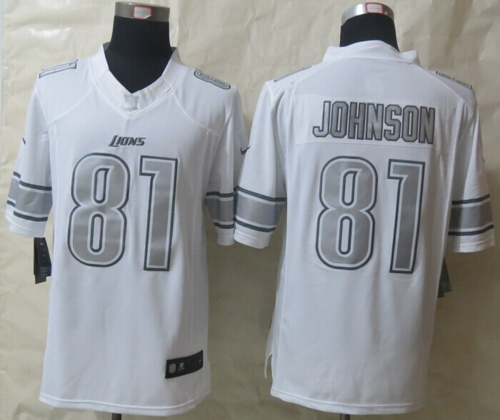 Detroit Lions 81 Johnson Platinum White 2014 New Nike Limited Jerseys