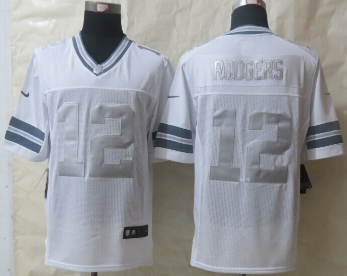 Green Bay Packers 12 Rodgers Platinum White 2014 New Nike Limited Jerseys
