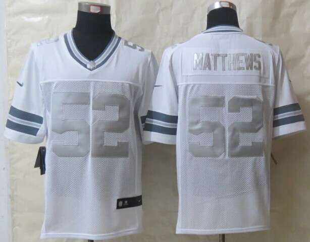 Green Bay Packers 52 Matthews Platinum White 2014 New Nike Limited Jerseys