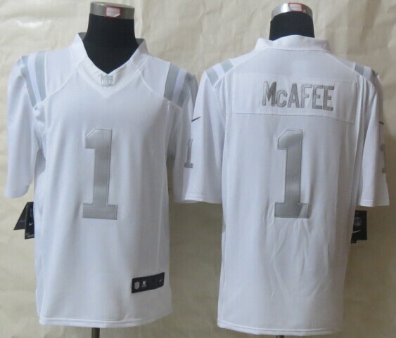 Indianapolis Colts 1 McAfee Platinum White 2014 New Nike Limited Jerseys