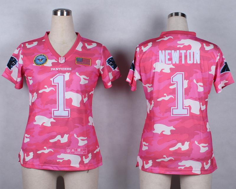 Womens Carolina Panthers 1 Cam Newton 2014 Pink Camo flag version Jerseys