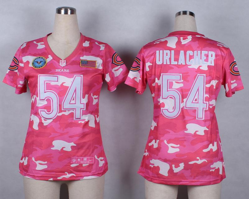 Womens Chicago Bears 54 Brian Urlacher 2014 Pink Camo flag version Jerseys