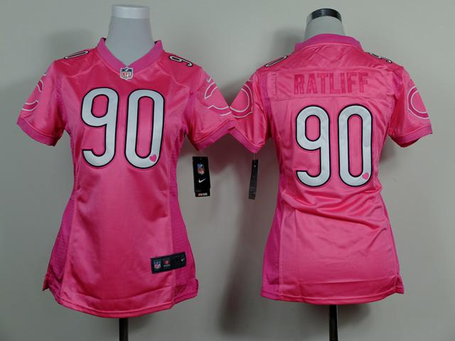 Womens Chicago Bears 90 Ratliff Pink Love's 2014 Jerseys