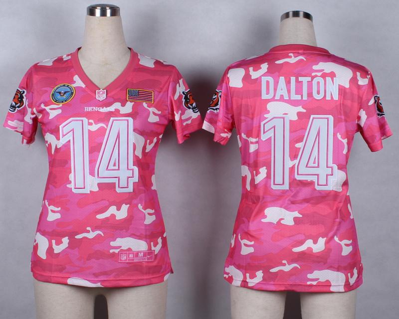 Womens Cincinnati Bengals 14 Andy Dalton 2014 Pink Camo flag version Jerseys