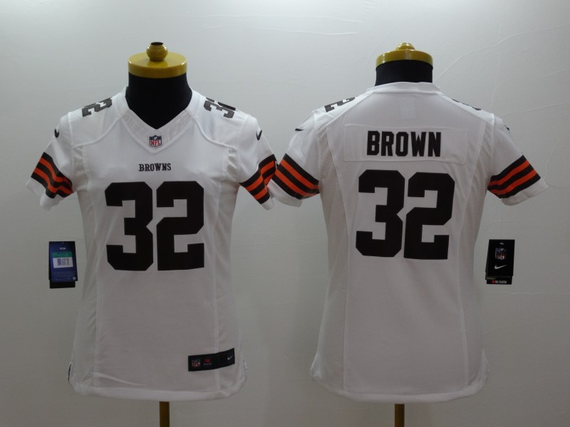 Womens Cleveland Browns 32 Brown White 2014 New Nike Limited Jerseys