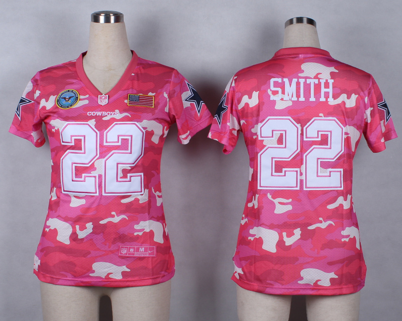 Womens Dallas Cowboys 22 Emmitt Smith 2014 Pink Camo flag version Jerseys