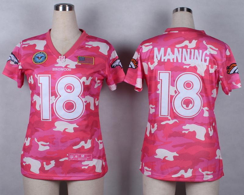 Womens Denver Broncos 18 Manning 2014 Pink Camo flag version Jerseys