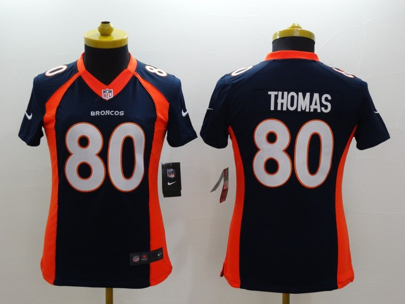 Womens Denver Broncos 80 Thomas Blue 2014 New Nike Limited Jerseys