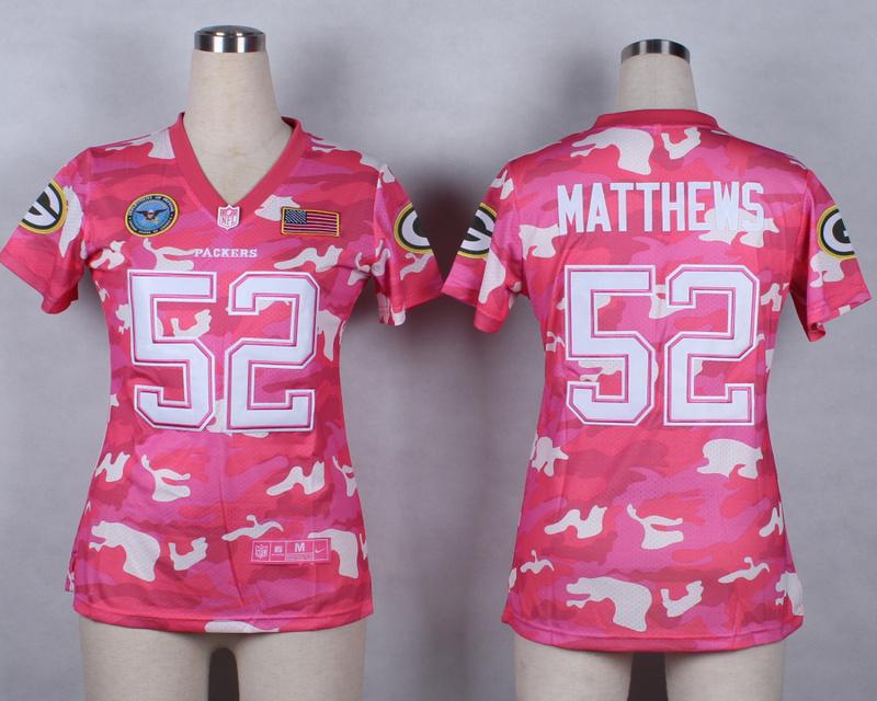 Womens Green Bay Packers 52 Clay Matthews 2014 Pink Camo flag version Jerseys