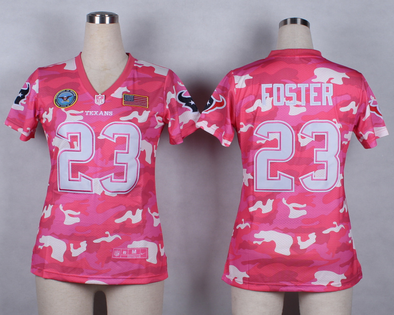 Womens Houston Texans 23 Arian Foster 2014 Pink Camo flag version Jerseys