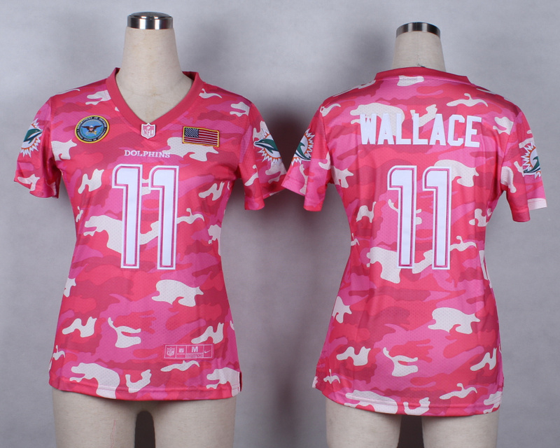 Womens Miami Dolphins 11 Wallace 2014 Pink Camo flag version Jerseys
