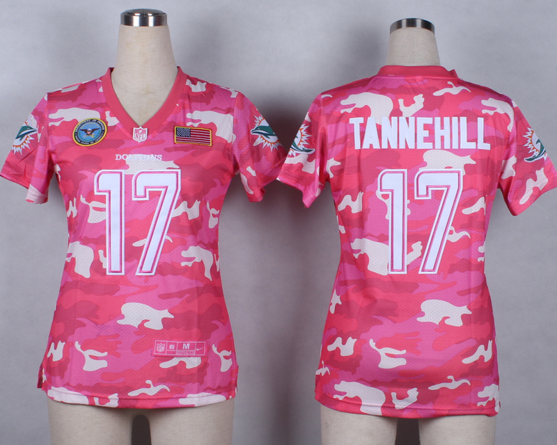 Womens Miami Dolphins 17 Ryan Tannehill 2014 Pink Camo flag version Jerseys