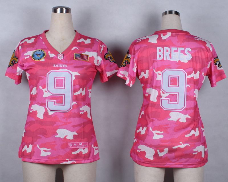 Womens New Orleans Saints 9 Drew Brees 2014 Pink Camo flag version Jerseys