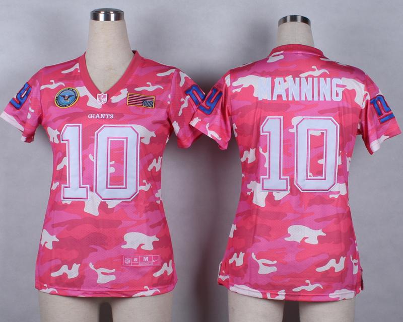 Womens New York Giants 10 Eli Manning 2014 Pink Camo flag version Jerseys