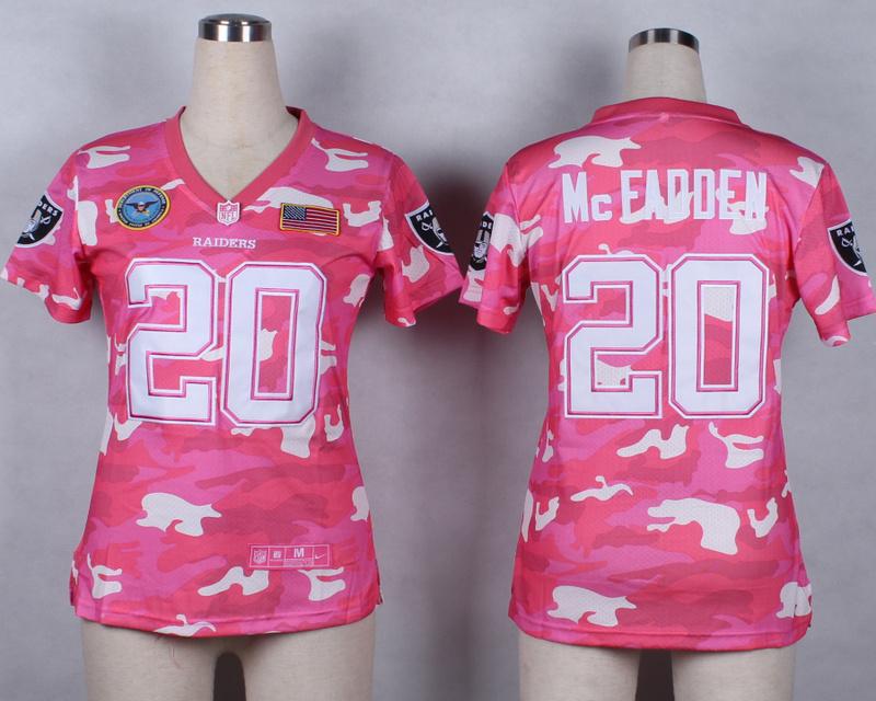 Womens Oakland Raiders 20 McFadden 2014 Pink Camo flag version Jerseys