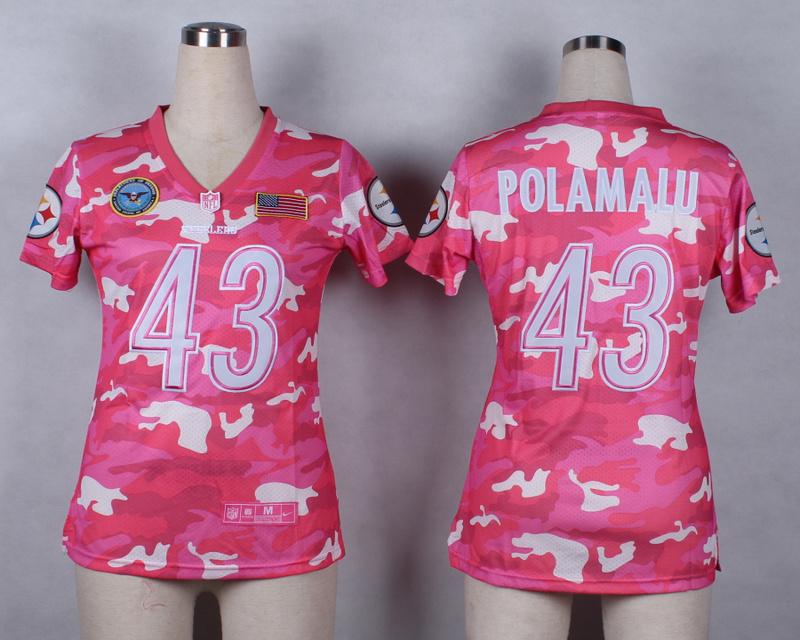 Womens Pittsburgh Steelers 43 Troy Polamalu 2014 Pink Camo flag version Jerseys