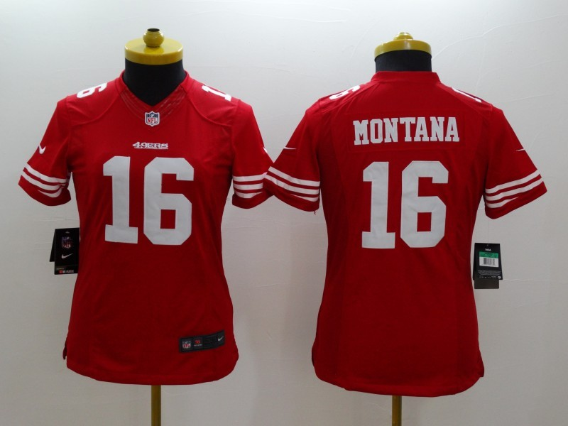 Womens San Francisco 49ers 16 Joe Montana red 2014 New Nike Limited Jerseys