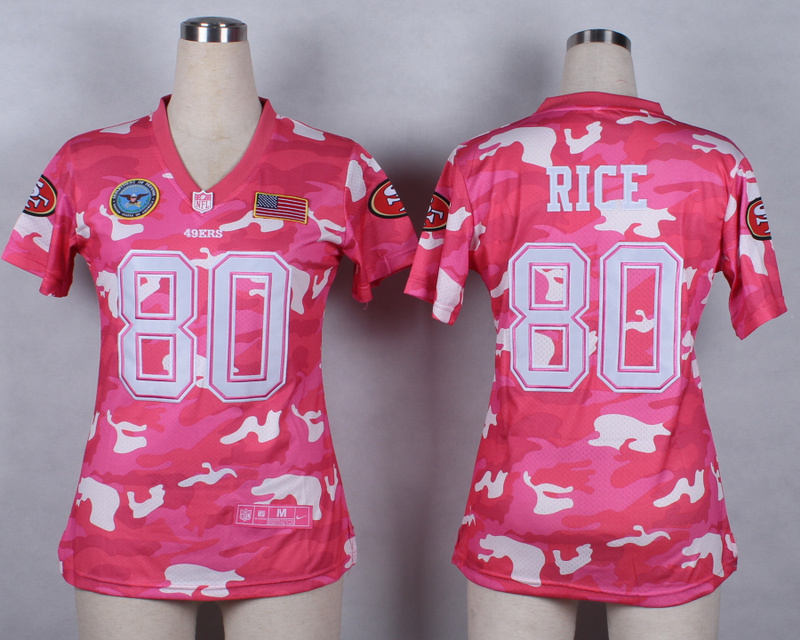 Womens San Francisco 49ers 80 Jerry Rice 2014 Pink Camo flag version Jerseys