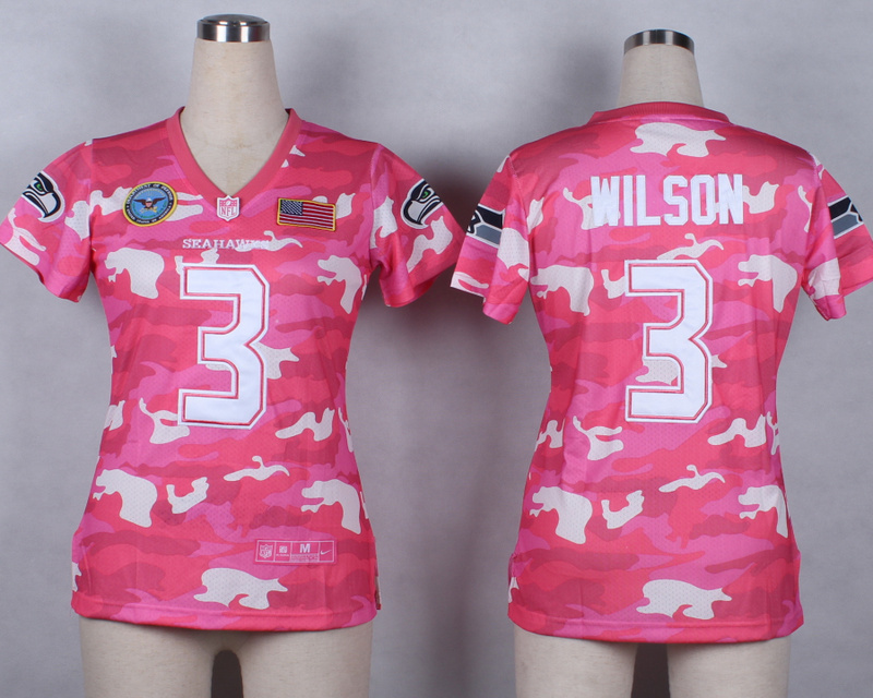 Womens Seattle Seahawks 3 Russell Wilson 2014 Pink Camo flag version Jerseys