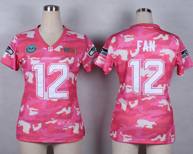 Womens Seattle Seahawks 12th Fan 2014 Pink Camo flag version Jerseys
