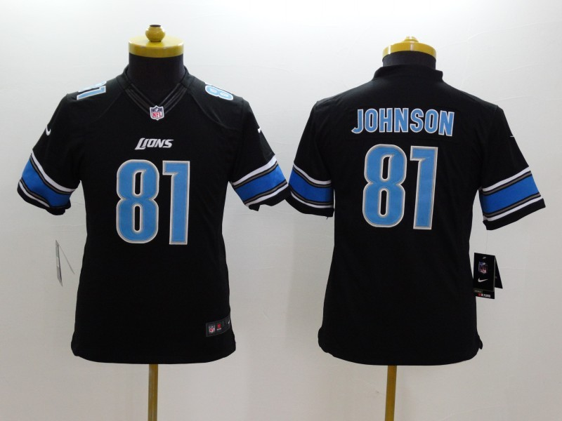 Youth Detroit Lions 81 Calvin Johnson Black 2014 New Nike Limited Jerseys