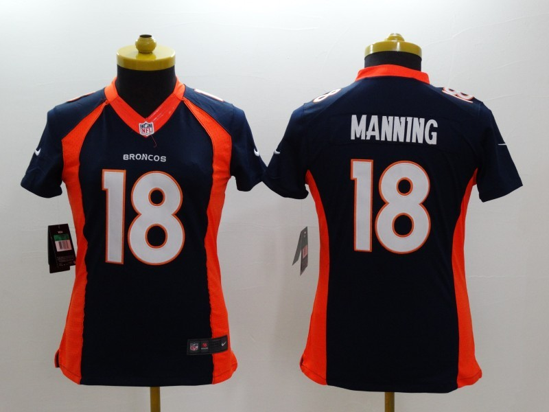 Womens Denver Broncos 18 Peyton Manning Blue 2014 New Nike Limited Jerseys