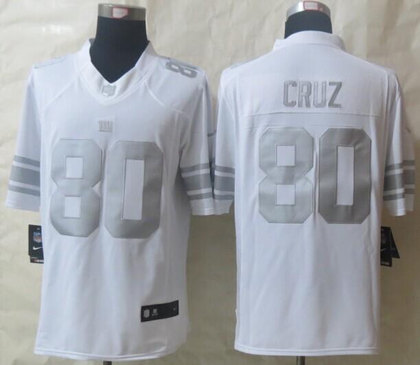 New York Giants 80 Cruz Platinum White 2014 New Nike Limited Jerseys