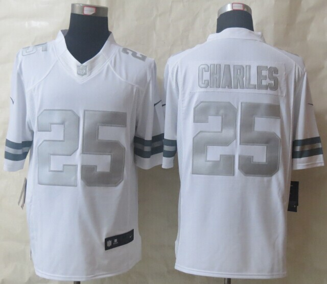 Kansas City Chiefs 25 Charles Platinum White 2014 New Nike Limited Jerseys