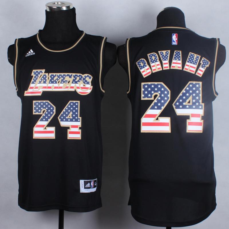 NBA Los Angeles Lakers 24 Kobe Bryant Black Flag version 2014 Jerseys