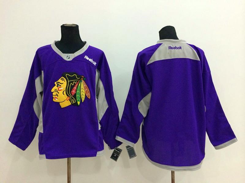 NHL Chicago Blackhawks Blank Purple 2014 Jerseys