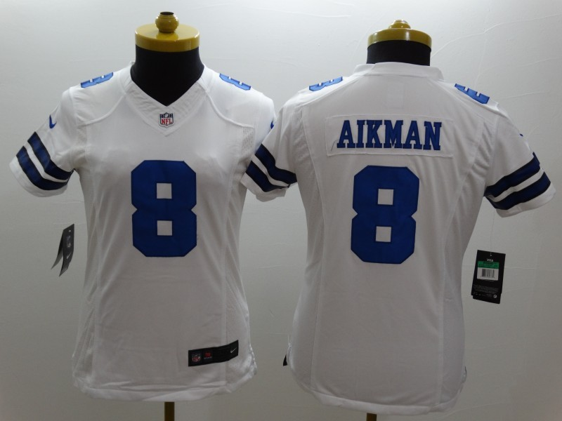 Womens Dallas Cowboys 8 Aikman White 2014 New Nike Limited Jerseys