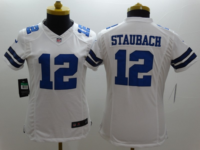 Womens Dallas Cowboys 12 Staubach White 2014 New Nike Limited Jerseys