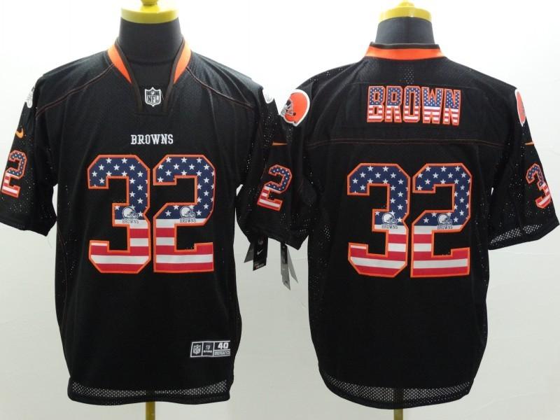 Cleveland Browns 32 Jim Brown 2014 New Nike USA Flag Fashion Black Elite Jerseys